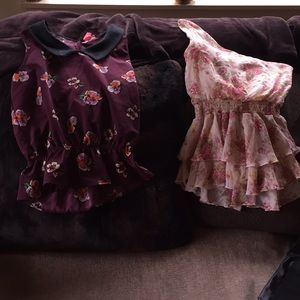 Tops - Lot two floral blouses Cinched Waist